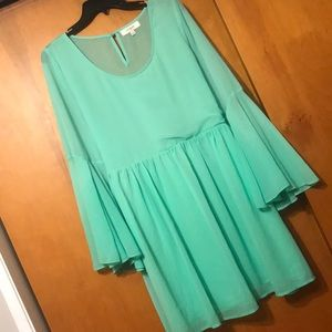 UMGEE BOHO MINT GREEN BELL SLEEVE DRESS